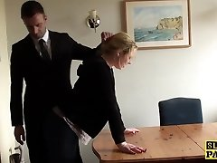 Throatfucked UK slave spanked until red raw