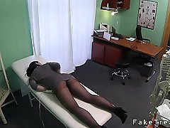 Redhead in pantyhose fucked by doctor in fake hospital