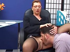 Mature Boss likes the young cock