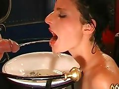Horny dirty brunette girl drinking piss part4
