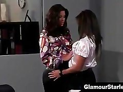 Horny classy lesbian gets off