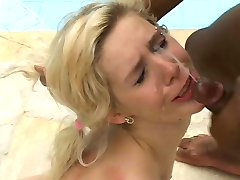 Hot blonde Latina takes a black dick in all holes poolside