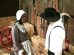Amish agricultor annalizes um preto de limpeza