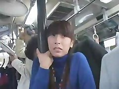 Japanese girl is riding in the bus and gets an upskirt fuck
