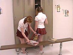 Two teen tarts in schoolgirl uniforms get their freak on in the locker room