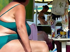 sexy granny spied on the beach