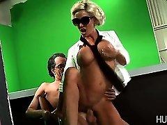 Lady Gaga climbing onto hard hard-on
