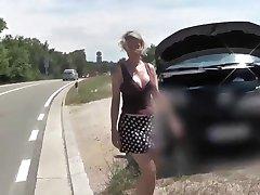 Blonde Street Blowjob for Car Repair