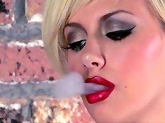 Tattooed Teenager Smoking Wanks