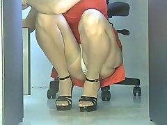 Office girl squatting upskirt