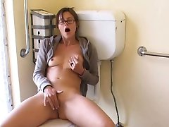 Masturbation solo of my brunette roommate in bathroom