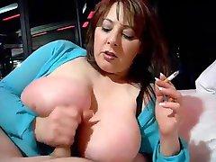 Hot Curvy Busty Cougar Smoking Jerk and Titfuck