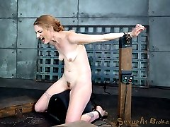 Pale pretty Ela Darling looks much too refined to being doing the porn, but she loves and craves the sort of rough handling that we specialize in. So we strap her onto a sybian and fuck her throat while she cums over and over again.