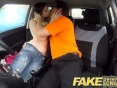 Fake Driving School hot Italian learner with bi...