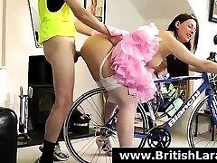 Anal fuck for MILF British lady Lara Latex in stockings
