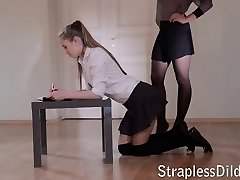 First strapon lesson for a girl