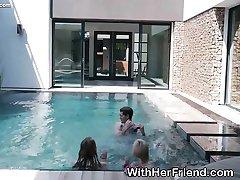Blonde Teen Best Friends Outdoors In Pool Sucking Dick