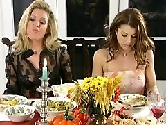 Lezzie dinner and spanking party