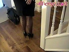 Enormous Knockers Mature Secretary In Stockings