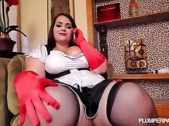 Full figured maid takes black spear to the max
