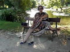 Hairy Mature in semi-transparent dress (part 3)