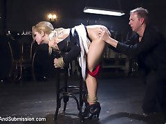 Sultry Dahlia Sky will do absolutely anything to get into an exclusive club, and when she tries to blow the door man she is taken to the back room where she is tied down and fucked mercilessly in the ass till she admits what a scheming whore she really is.