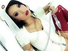 Super sexy asian nurse in the bathroom