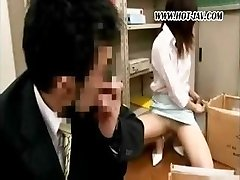 Young Asian office superslut gets it on with her dirty old chief