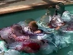 Sqaure Dance Petticoat Pron in the pool