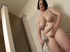 Gigantic tit BBW take a shower