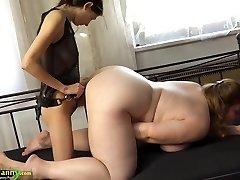 OldNanny Chubby buxomy granny masturbate with belt dick and tee