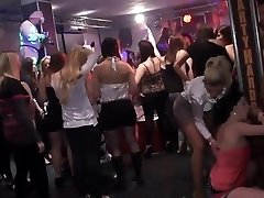 Fledgling college gal group orgy in disco