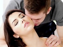 Romantic couple close-up with a creampie climax
