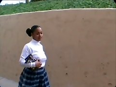 Little Dark-hued School Girl Tracy Is Selling Donk Candy