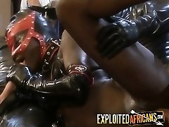 Black babe slurping long fat cock