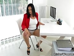 Cougar secretary Ria Dark-hued takes a break from accounting