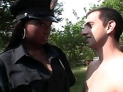 Ebony police officer female fucking white dick