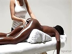 Skillful doctor gives special pussy rubdown to a slim ebony princess