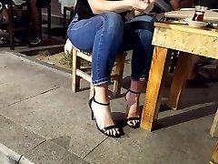 Teen marvelous feets, long black toes in high heels
