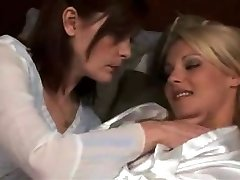 mature lesbian make out with sizzling platinum-blonde