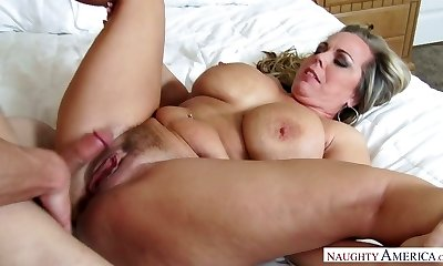 Mega busty step-mother Amber Lynn Bach is ravaged by horny 19 yo stepson