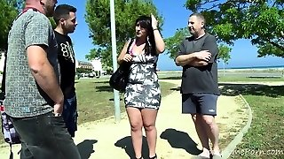 Brunette Bbw Takes On Two Horny Guys