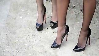 Ladies In Seamed Stockings & Louboutin Heels