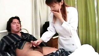 Asian nurse jerking off