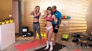 Girlfriends lures and fucks gym instructor