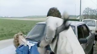 Accident video of hard outdoor hook-up