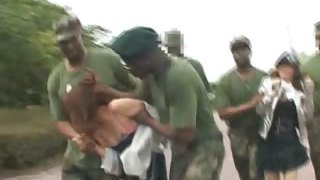 Asian fuck-a-thon slave gets poked in military group sex