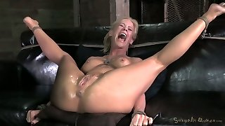 Heavily tied blondie MILF with tight funbags gets torn up by black freak hard