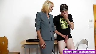 Mommy instructor playing plus a cock