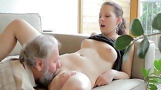 Horny old boy drills son's girlfriend